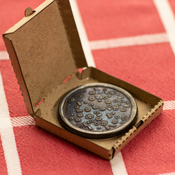 Burnt Supreme Pizza Coin with Tiny Pizza Box | Shire Post Mint | Funny Gifts
