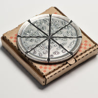 Pizzas of Eight Breakable Supreme Pizza Silver Coin with two Tiny Pizza Boxes