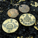 Mistborn coins - Golden Boxing and Copper Clip of The Final Empire - novels by Brandon Sanderson - coin by Shire Post Mint