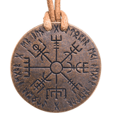 Skadi / Vegvisir Bronze and Leather Necklace