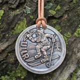 Ullr / Vegvisir Bronze and Leather Necklace