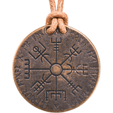 Vegvisir Norse Compass Bronze and Leather Necklace