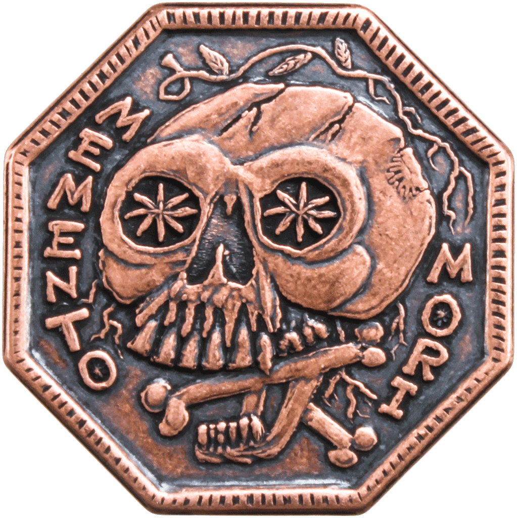 Memento Mori / Memento Vivere Reminder Coin in solid copper
