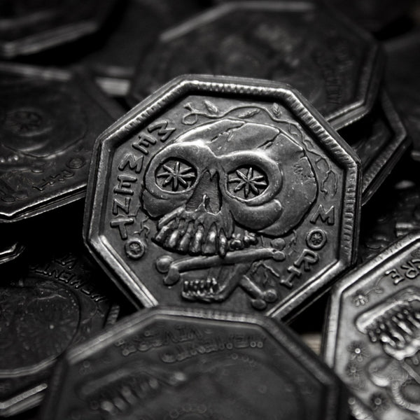 Memento Mori / Memento Vivere Reminder Coin in solid blackened iron by Shire Post Mint