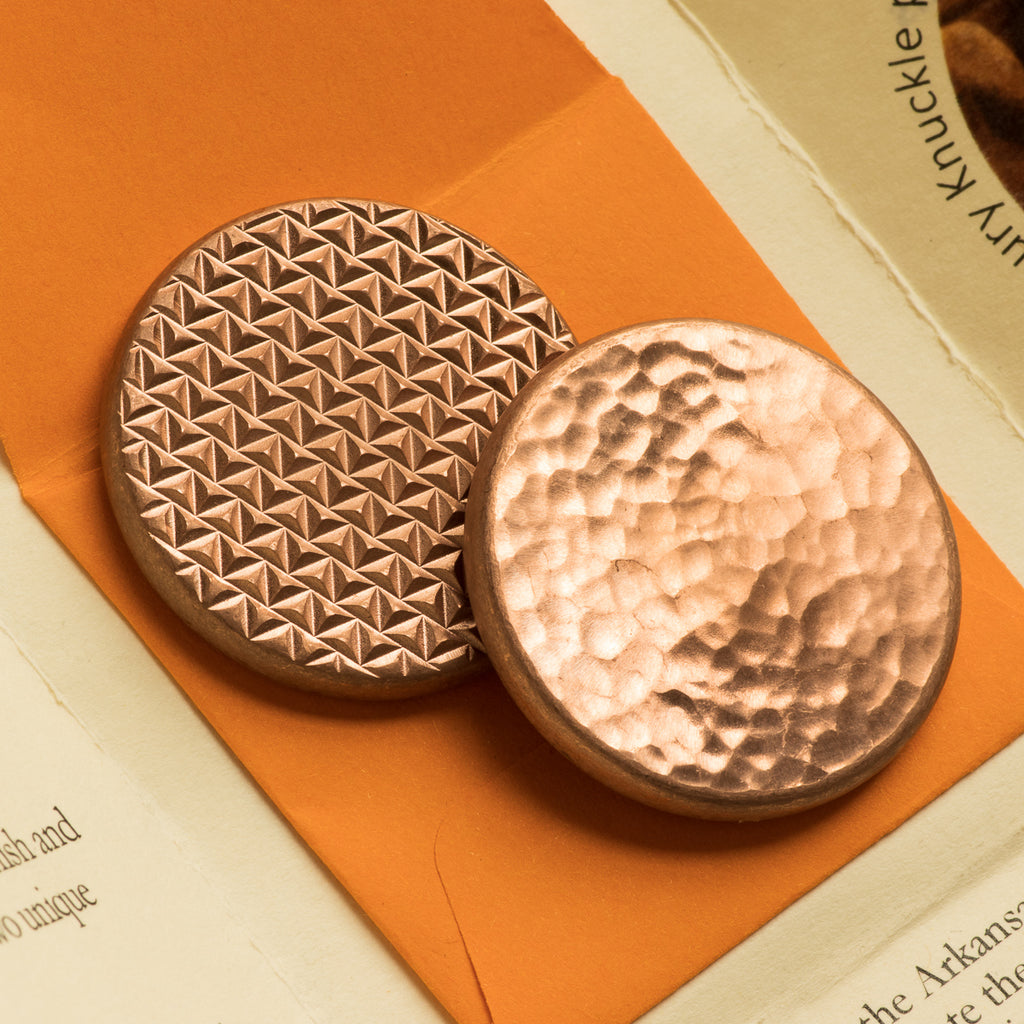 Duplex Worry Stone - Raw Copper - Hammered and Textured Combo