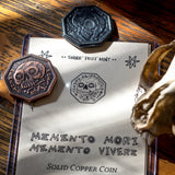 Memento Mori / Memento Vivere Reminder Coin in solid copper and black iron by Shire Post Mint