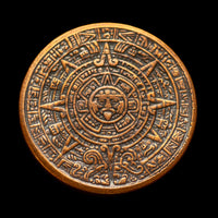 Aztec Sun Stone Calendar - Copper Worry Coin