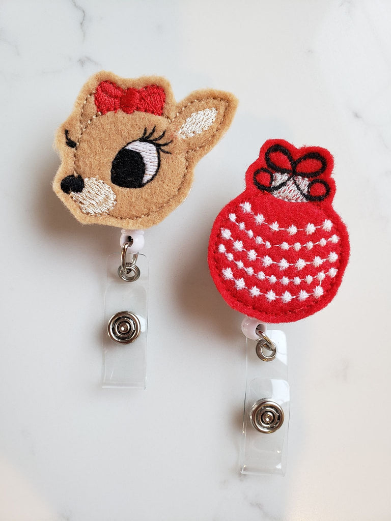 Christmas Badge Holders - Red Christmas Ornament Badge Reels - Rudolph Retractable ID Badge Clips for Nurse