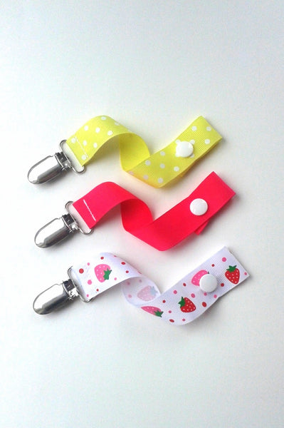 Pink and Yellow Baby Girl Pacifier Clip Set of 3 - Baby Girl Gift - Universal PACIFIER CLIP