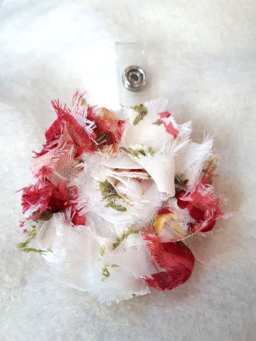 Red White Flower Badge Holder - Retractable ID Badge Clips - Nurse Badge Reel