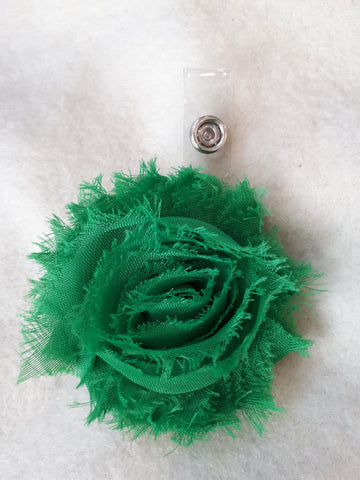 Green Flower Badge Holders - Pretty Badge Reels - Retractable ID Badge Clips - St Patricks Badge Reel - Nurse Badge Reel