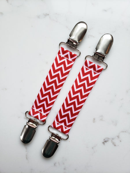 Red Chevron MITTEN CLIPS for Children - Kids Mitten Clips - Glove Clips for Kids