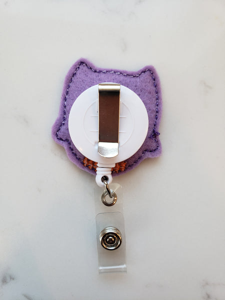 purple owl badge reel belt clip option