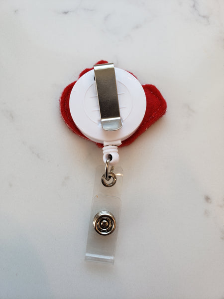 belt clip option for red apple teacher badge reel