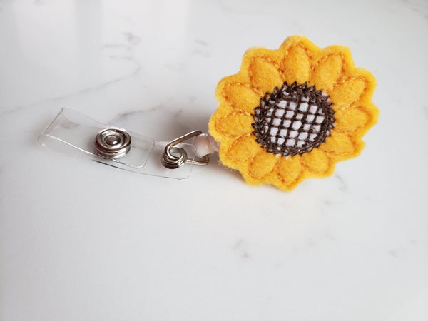Sunflower Badge Holders - Cute Badge Reels - Retractable ID Badge Clips for Teacher - Teacher Gifts Under 10 - Nurse Badge Reel
