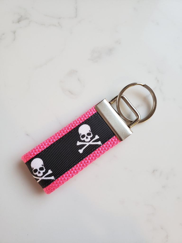 Pink Skulls KEY FOB - Womens Gift for Her Under 10 - Skulls Keychain for Women - Girlfriend Gift Idea