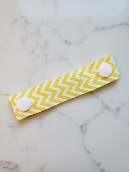 Yellow White Chevron Ear Saver - Face Mask Extender Strap - Non stretchy - 4 inches