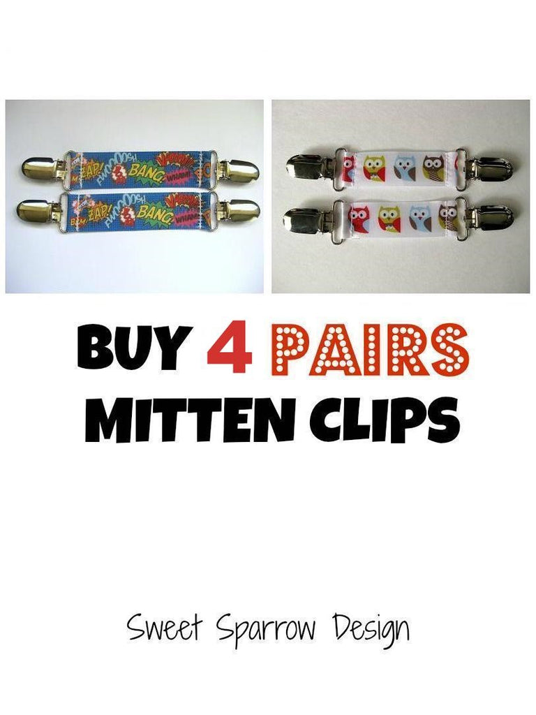 4 Pairs MITTEN CLIPS for Children - Your Choice of Color for Mitt Clips