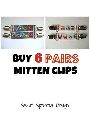 6 Pairs of MITTEN CLIPS for Children- Kids Mitten Clips- Glove Clips for Kids