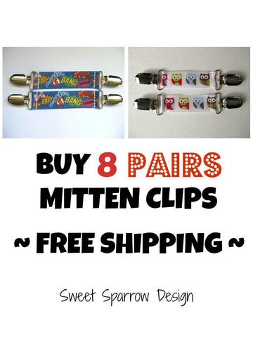 8 pairs of mitten clips for kids winter jackets