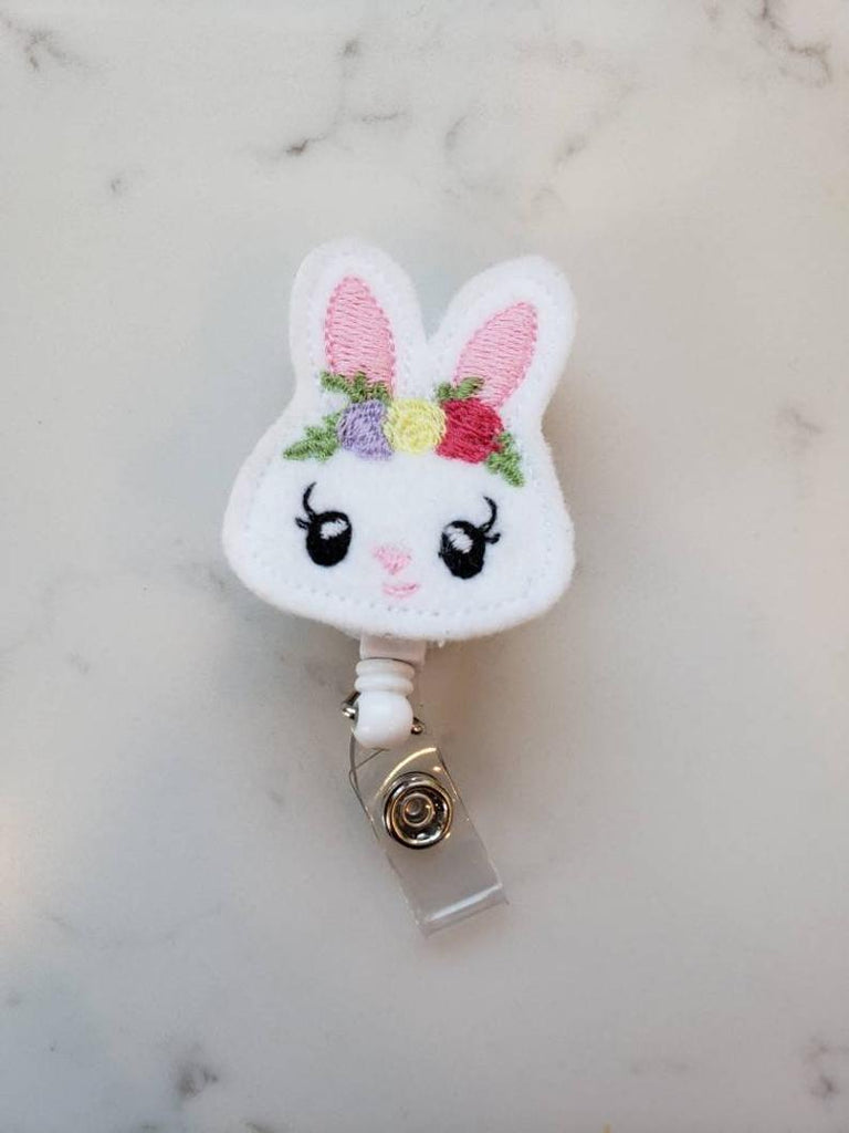 easter bunny badge reel with floral crown
