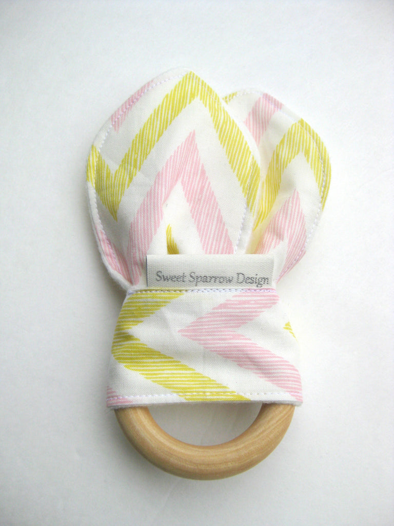 Cute Baby Girl Gift- Organic Baby Teether- Wood Baby TEETHER- Pink Chevron Bunny Ear Teether- Teething Toy- Baby Shower Gift- Wood Ring Teether