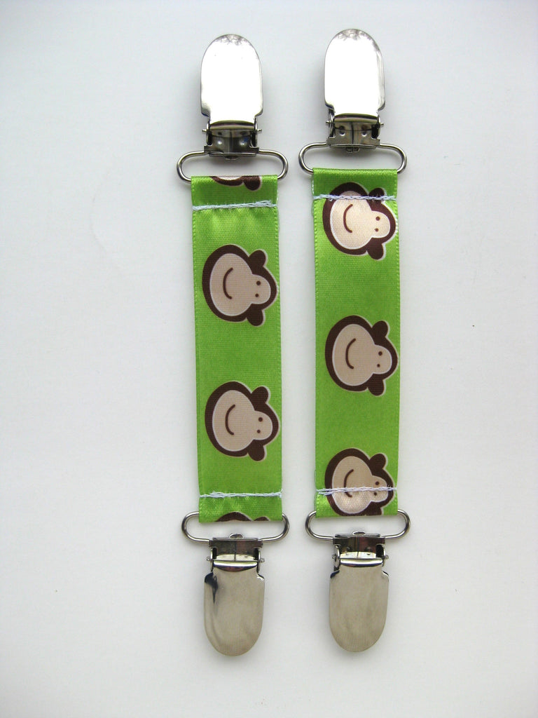 Green Monkey MITTEN CLIPS for Children - Toddler Mitten Clips - Mitt Clips for Kids