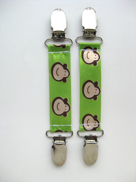 Monkey MITTEN CLIPS for Children- Toddler Mitten Clips- Mitt Clips for Kids