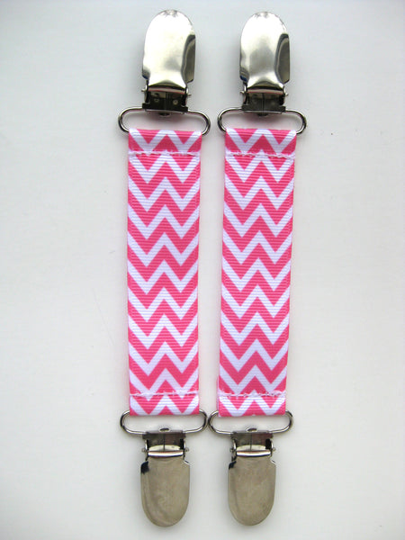 Pink Chevron MITTEN CLIPS for Children - Kids Mitten Clips - Glove Clips for Kids