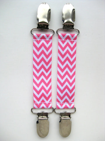 Pink Chevron MITTEN CLIPS for Children- Kids Mitten Clips- Glove Clips for Kids