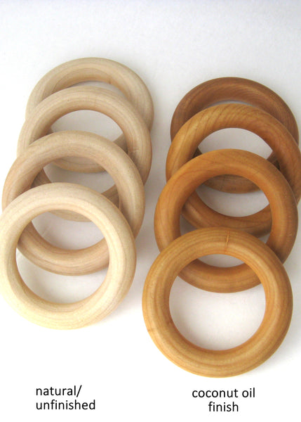10 Organic WOOD TEETHING RINGS Wholesale - Organic Wood Teether - Natural Teether for Baby