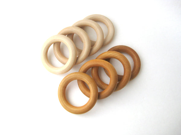 WOODEN TEETHING RING - Natural Wood Teether for Baby - Wood Baby Teether with Add On Pacifier Clip - Baby Shower Gift - Baby Gift Idea -Wood Ring