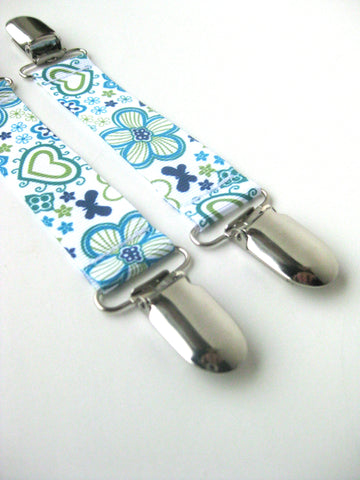 Blue Floral MITTEN CLIPS for Children - Toddler Mitten Clips - Glove Clips for Kids