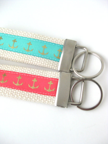 Womens KEY FOB- Anchor Key Chain- Gold Keychain Holder- Coral Mint Key Fob- Womens Gift for Her Under 10