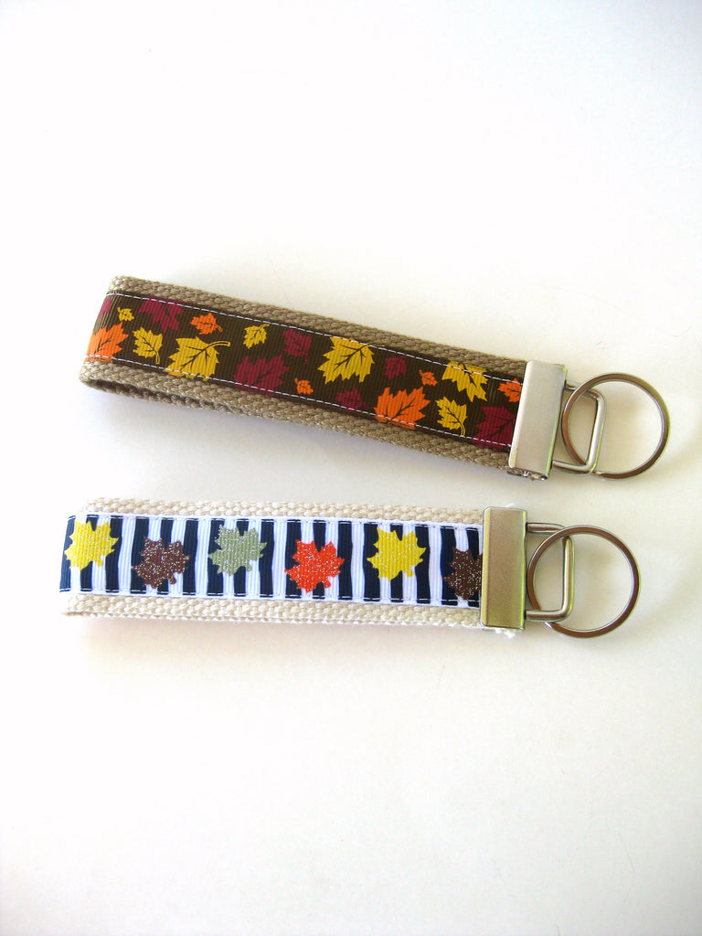 Autumn Leaves KEY FOB Wristlet- Fall Keychain- Wrist Keychain for Her