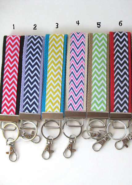 Chevron Key Fob for Women- Women's Wristlet Keychain- Chevron Womens Keychain