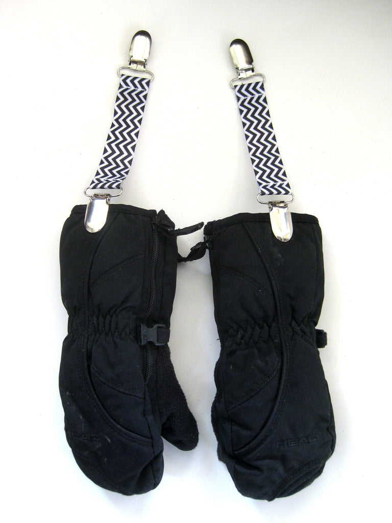 Black Chevron MITTEN CLIPS for Children- Kids Mitten Clips- Glove Clips for Kids