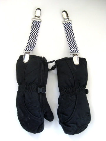 Black Chevron MITTEN CLIPS for Children - Kids Mitten Clips - Glove Clips for Kids