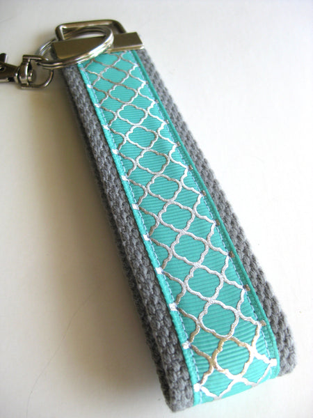 Mint and Silver Quatrefoil Wristlet Key Fob - Womens Wrist Keychain - Womens Gift for Her