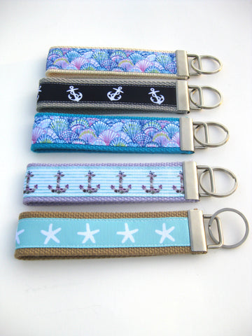20 Nautical Print Mini KEY FOBS - Assorted Nautical Print Bulk Gifts - Nautical Gift Idea