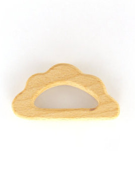 Wooden Cloud Teething Ring with Cupcake Pacifer Clip - Natural Wood Teether for Baby - Baby Shower Gift