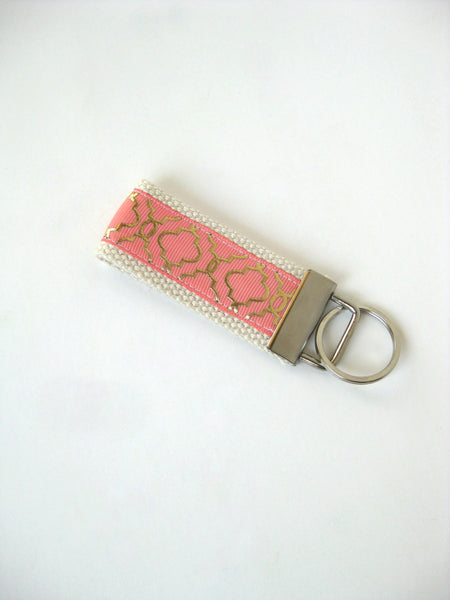 Coral and Gold Quatrefoil Key Fob- Gold KEY FOB- Womens Keychain