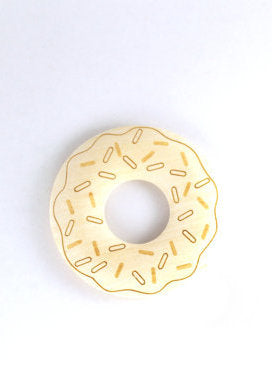 Wooden Donut Teething Ring with Pacifer Clip - Natural Wood Teether for Baby - Baby Shower Gift