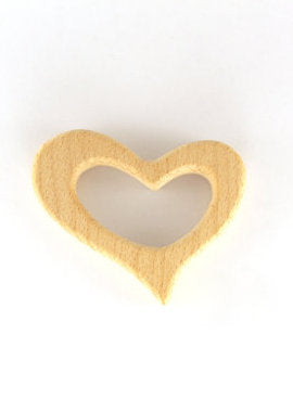 Wooden Heart Teething Ring with Pacifer Clip - Natural Wood Teether for Baby - Baby Shower Gift