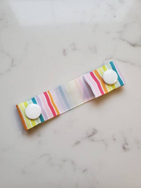 Rainbow Stripes Ear Saver - Face Mask Extender Strap - 4 inches - Non Stretchy
