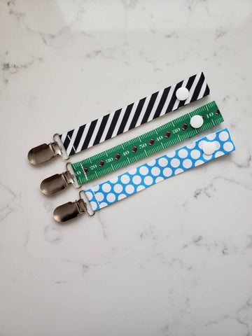 Football PACIFIER CLIP - Baby Boy Shower Gift Set - Boys Universal Pacifier Holder - Striped Soother Clip - Paci Clip Soothie String