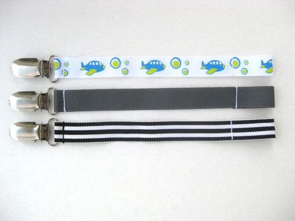 Baby Boy PACIFIER CLIP- Soother String- Boy Dummy Clip- Boy Paci Clip- Striped Pacifier Clip- Baby Boy Shower Gift- Toy Clip- Baby Gift Set