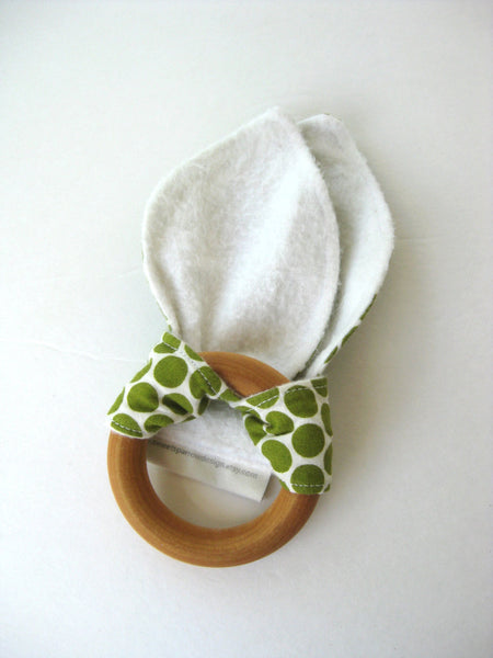 Organic Baby Teether- Wood Baby TEETHER- Green Bunny Ear Teether- Baby Teething Toy- Baby Shower Gift- Organic Baby Gift- Wood Ring Teether