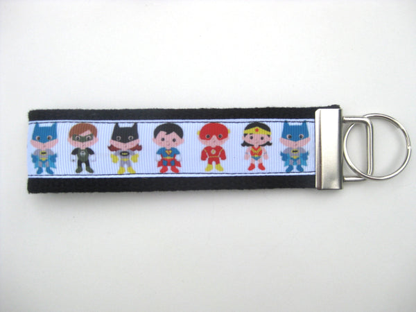 Superhero Keychain- Mini or Wristlet Key Fob- Backpack Zipper Pull- Kids Key Chain- Superhero Keychain- Key Lanyard- Kids Gift Under 10