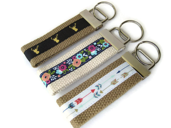 Floral Wristlet Key Fob for Women- Arrow Key Chain- Antler KEY FOB- Wrist Keychain for Her- Key Lanyard- Gift for Her- Womens Gift Under Ten